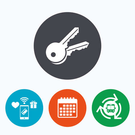 tool unlock: Keys sign icon. Unlock tool symbol. Mobile payments, calendar and wifi icons. Bus shuttle.