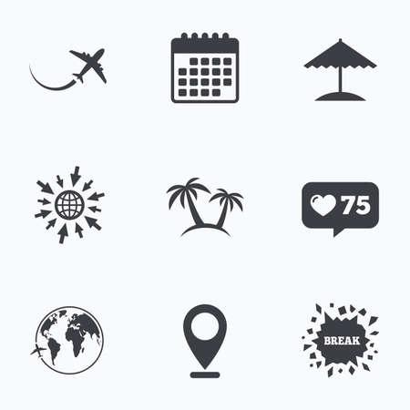 Calendario, como contador e ir a iconos de la web. icono de viaje. Avión, símbolos globo del mundo. Palmera y signos sombrilla de playa. Ubicación del puntero.