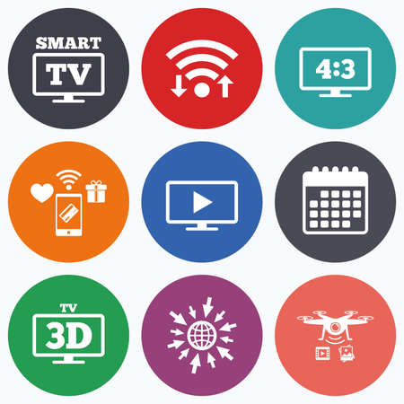 ratio: Wifi, mobile payments and drones icons. Smart TV mode icon. Aspect ratio 4:3 widescreen symbol. 3D Television sign. Calendar symbol.