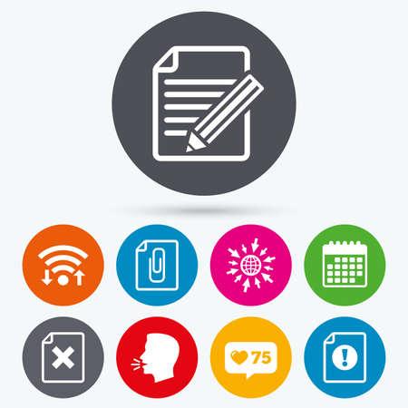 attach: Wifi, como iconos de venta libre y de calendario. Presentar iconos de atención. Documento de borrar y lápiz de edición de símbolos. Clip de papel adjuntar señal. el idioma humano, ir a la web. Vectores