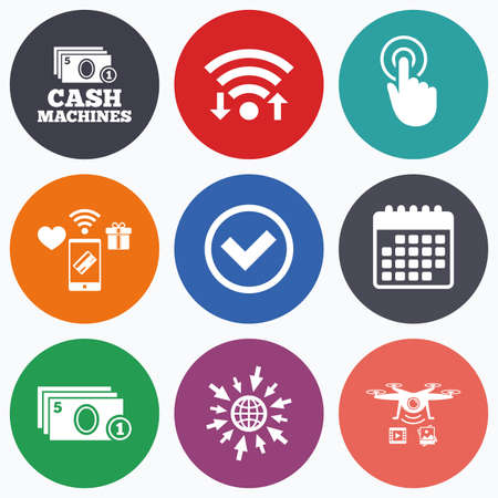 withdrawals: Wifi, mobile payments and drones icons. ATM cash machine withdrawal icons. Click here, check PIN number, processing and cash withdrawal symbols. Calendar symbol.