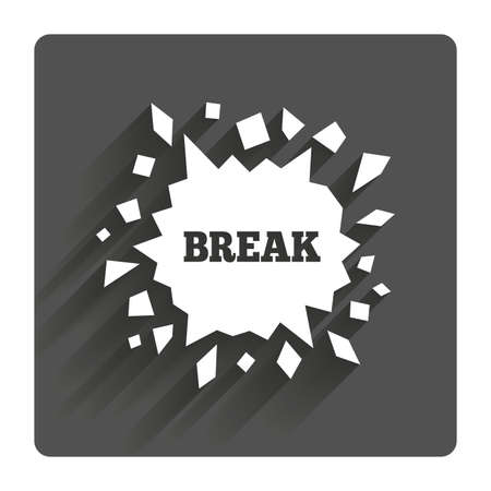 smashed: Break it sign. Cracked hole icon. Smashed wall symbol. Gray flat square button with shadow. Modern UI website navigation.