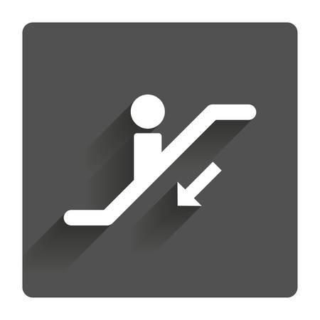 moving down: Escalator staircase icon. Elevator moving stairs down symbol. Gray flat square button with shadow. Modern UI website navigation.