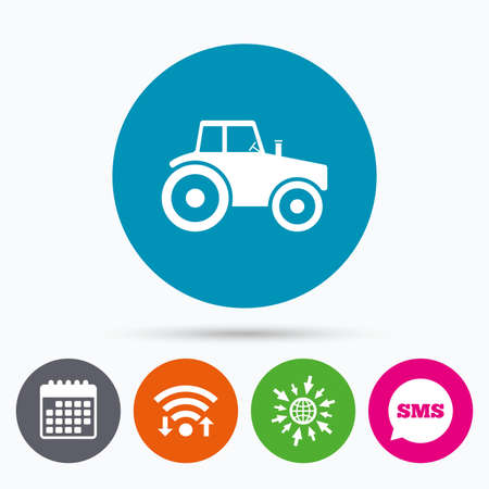 agricultural industry: Wifi, Sms and calendar icons. Tractor sign icon. Agricultural industry symbol. Go to web globe.