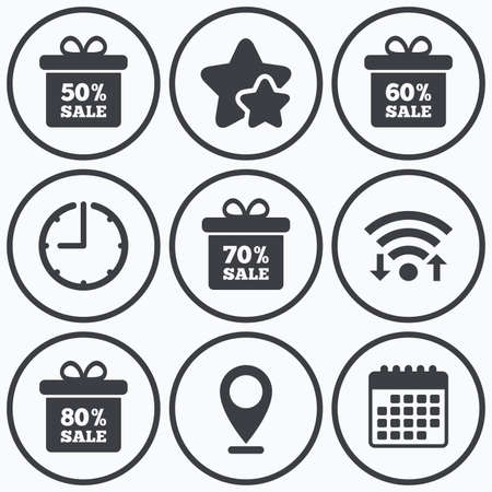 60 70: Clock, wifi and stars icons. Sale gift box tag icons. Discount special offer symbols. 50%, 60%, 70% and 80% percent sale signs. Calendar symbol. Illustration