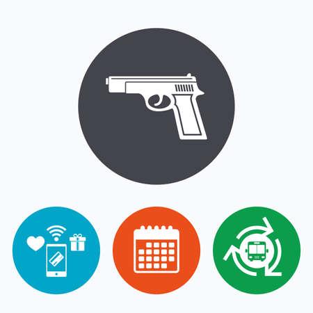 seal gun: Gun sign icon. Firearms weapon symbol. Mobile payments, calendar and wifi icons. Bus shuttle.