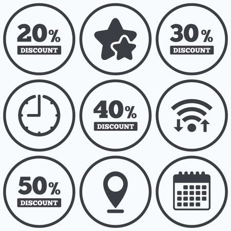30 to 40: Clock, wifi and stars icons. Sale discount icons. Special offer price signs. 20, 30, 40 and 50 percent off reduction symbols. Calendar symbol.