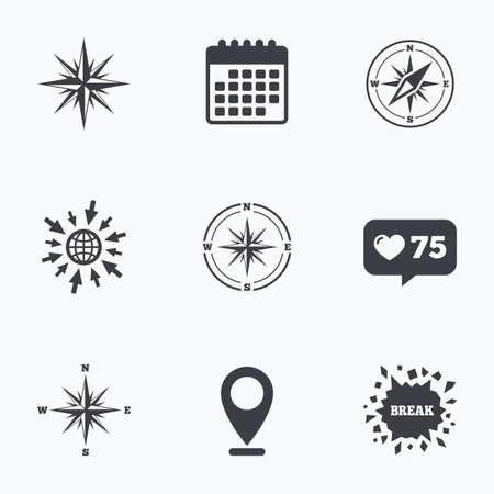 Calendario, come banco e andare a icone web. Windrose icone di navigazione. simboli bussola. Coordinate Segno del sistema. puntatore Posizione.
