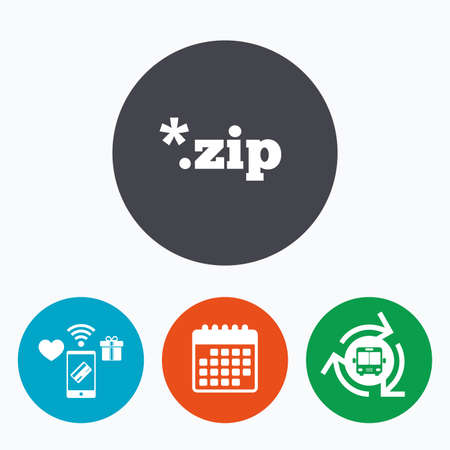 zipped: Archive file icon. Download compressed file button. ZIP zipped file extension symbol. Mobile payments, calendar and wifi icons. Bus shuttle. Illustration