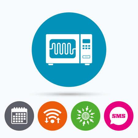 Wifi, SMS y calendario iconos. Microondas icono de la muestra del horno. Cocina símbolo cocina eléctrica. Ir a la Web del globo.