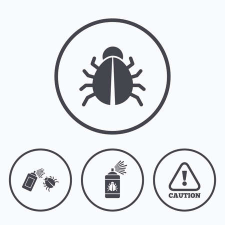 insanitary: Bug disinfection icons. Caution attention symbol. Insect fumigation spray sign. Icons in circles.