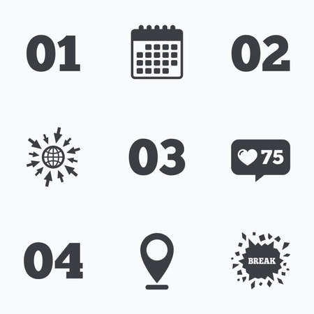 three pointer: Calendar, like counter and go to web icons. Step one, two, three and four icons. Sequence of options symbols. Loading process signs. Location pointer. Illustration