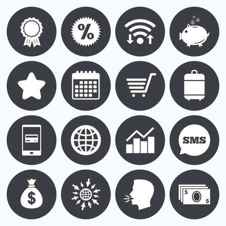 와이파이, 일정 및 모바일 결제. 온라인 쇼핑, 전자 상거래 및 비즈니스 아이콘입니다. 돼지 저금통, 수상 및 스타 표지판입니다. 현금 돈, 할인 및 통계