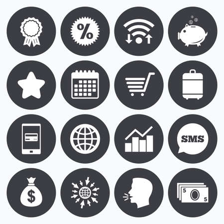 banco mundial: Wifi, el calendario y los pagos móviles. compras en línea, comercio electrónico y negocios iconos. Hucha, premios y muestras de la estrella. dinero en efectivo, descuentos y estadísticas símbolos. Sms bocadillo, ir a símbolos web.