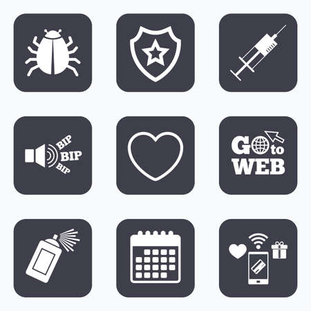 shield bug: Mobile payments, wifi and calendar icons. Bug and vaccine syringe injection icons. Heart and spray can sign symbols. Go to web symbol.