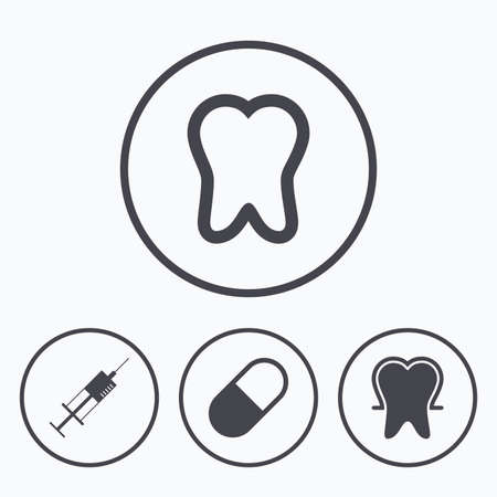 enamel: Tooth enamel protection icons. Medical syringe and pill signs. Medicine injection symbol. Icons in circles. Illustration