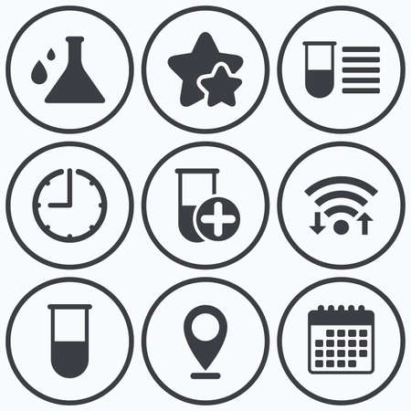 medical equipment: Clock, wifi and stars icons. Chemistry bulb with drops icon. Medical test signs. Laboratory equipment symbols. Calendar symbol. Illustration