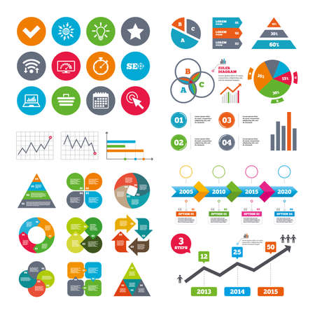 bandwidth: Wifi, calendar and web icons. Internet, seo icons. Bandwidth speed, online shopping and tick signs. Favorite star, notebook chart symbols. Diagram charts design. Illustration