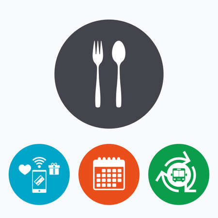 dessert fork: Eat sign icon. Cutlery symbol. Dessert fork and teaspoon. Mobile payments, calendar and wifi icons. Bus shuttle.