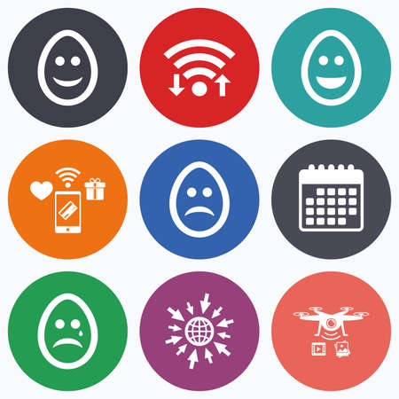 pasch: Wifi, mobile payments and drones icons. Eggs happy and sad faces icons. Crying smiley with tear symbols. Tradition Easter Pasch signs. Calendar symbol. Illustration