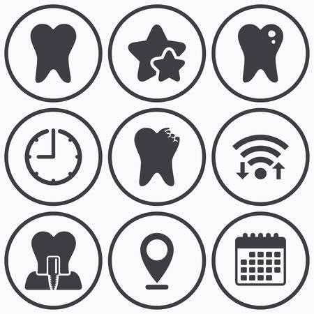 stomatologist: Clock, wifi and stars icons. Dental care icons. Caries tooth sign. Tooth endosseous implant symbol. Calendar symbol.