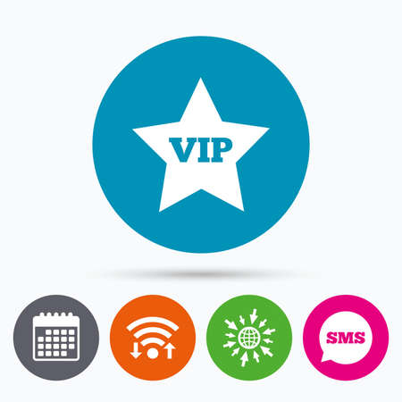 very important person: Wifi, Sms and calendar icons. Vip sign icon. Membership symbol. Very important person. Go to web globe.