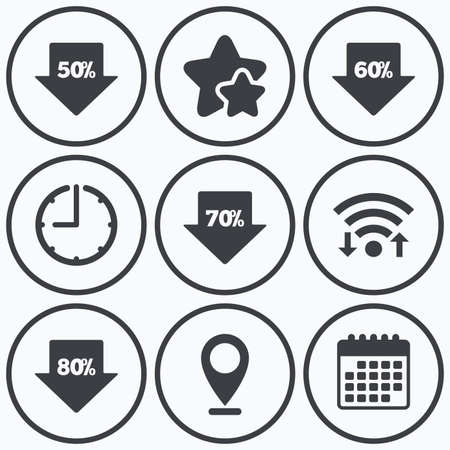 60 70: Clock, wifi and stars icons. Sale arrow tag icons. Discount special offer symbols. 50%, 60%, 70% and 80% percent discount signs. Calendar symbol.