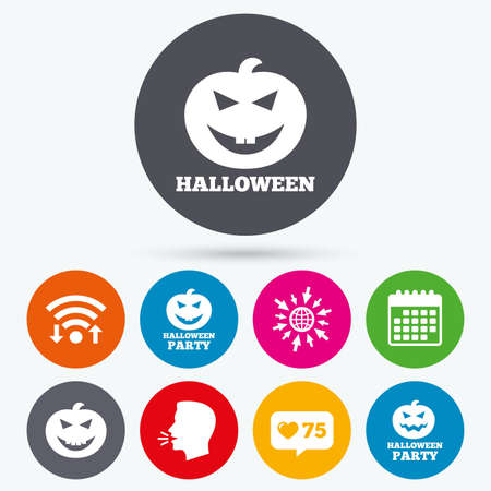 hallows: Wifi, like counter and calendar icons. Halloween pumpkin icons. Halloween party sign symbol. All Hallows Day celebration. Human talk, go to web.