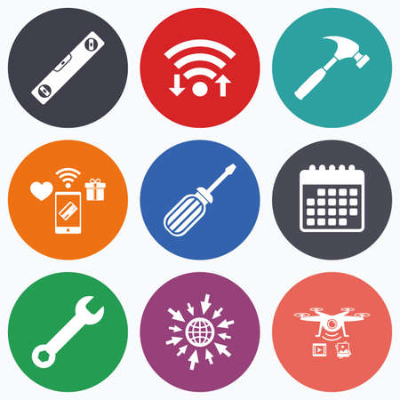 bubble level: Wifi, mobile payments and drones icons. Screwdriver and wrench key tool icons. Bubble level and hammer sign symbols. Calendar symbol.