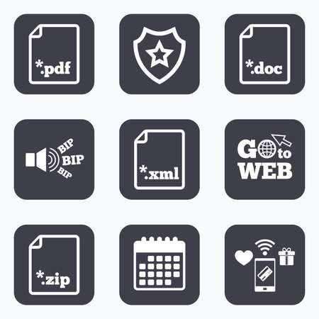 extensions: Mobile payments, wifi and calendar icons. Download document icons. File extensions symbols. PDF, ZIP zipped, XML and DOC signs. Go to web symbol.