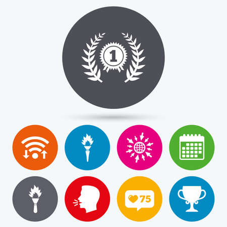 medal like: Wifi, like counter and calendar icons. First place award cup icons. Laurel wreath sign. Torch fire flame symbol. Prize for winner. Human talk, go to web.