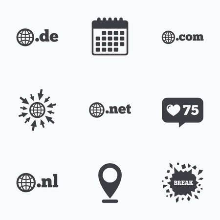 dns: Calendar, like counter and go to web icons. Top-level internet domain icons. De, Com, Net and Nl symbols with globe. Unique national DNS names. Location pointer.