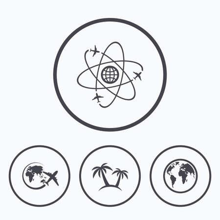airplane world: Travel trip icon. Airplane, world globe symbols. Palm tree sign. Travel round the world. Icons in circles. Illustration