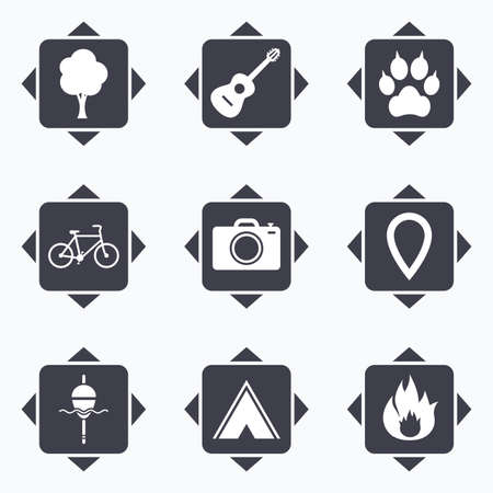 clutches: Icons with direction arrows. Tourism, camping icons. Fishing, fire and bike signs. Guitar music, photo camera and paw with clutches. Square buttons.