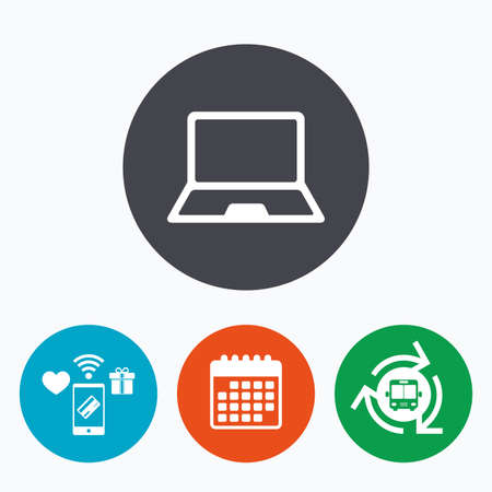 ultrabook: Laptop sign icon. Notebook pc symbol. Mobile payments, calendar and wifi icons. Bus shuttle. Illustration