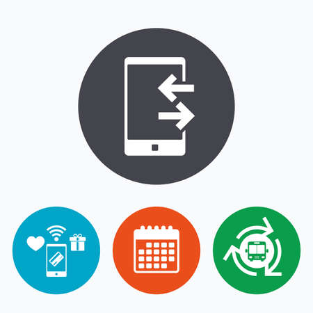 outcoming: Incoming and outcoming calls sign icon. Smartphone symbol. Mobile payments, calendar and wifi icons. Bus shuttle.