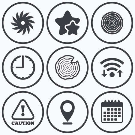 woodworking: Clock, wifi and stars icons. Wood and saw circular wheel icons. Attention caution symbol. Sawmill or woodworking factory signs. Calendar symbol. Illustration
