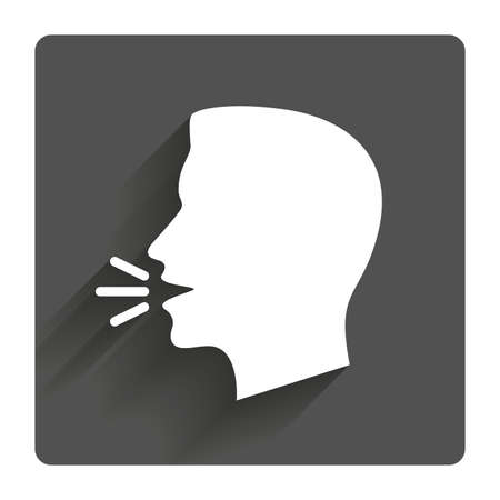 mouth: Talk or speak icon. Loud noise symbol. Human talking sign. Gray flat square button with shadow. Modern UI website navigation.