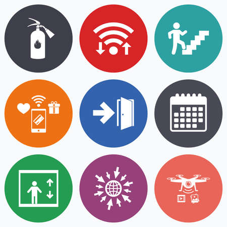 emergency: Wifi, mobile payments and drones icons. Emergency exit icons. Fire extinguisher sign. Elevator or lift symbol. Fire exit through the stairwell. Calendar symbol.