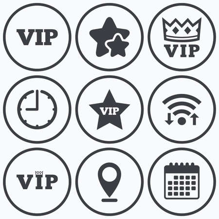 very important person: Clock, wifi and stars icons. VIP icons. Very important person symbols. King crown and star signs. Calendar symbol. Illustration
