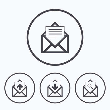 outbox: Mail envelope icons. Find message document symbol. Post office letter signs. Inbox and outbox message icons. Icons in circles.