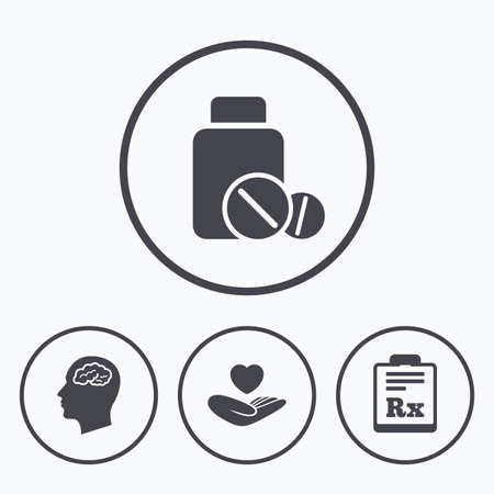 rx: Medicine icons. Medical tablets bottle, head with brain, prescription Rx signs. Pharmacy or medicine symbol. Hand holds heart. Icons in circles. Illustration