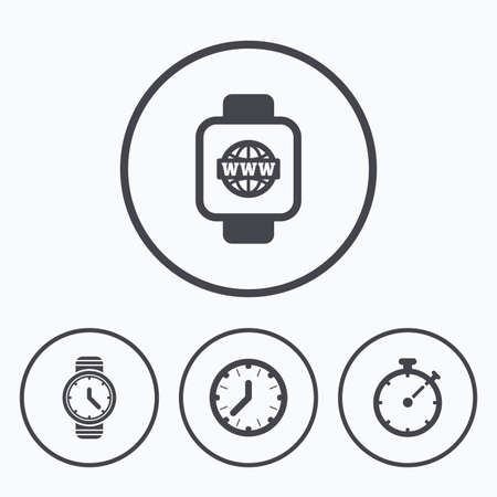 mechanical symbols: Smart watch with internet icons. Mechanical clock time, Stopwatch timer symbols. Wrist digital watch sign. Icons in circles.