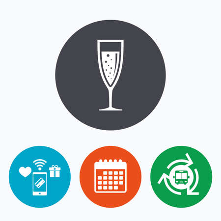 champagne celebration: Glass of champagne sign icon. Sparkling wine with bubbles. Celebration or banquet alcohol drink symbol. Mobile payments, calendar and wifi icons. Bus shuttle.
