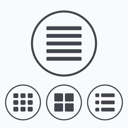 thumbnails: List menu icons. Content view options symbols. Thumbnails grid or Gallery view. Icons in circles.