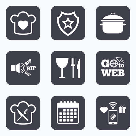 crosswise: Mobile payments, wifi and calendar icons. Chief hat with heart and cooking pan icons. Crosswise fork and knife signs. Boil or stew food symbol. Go to web symbol.