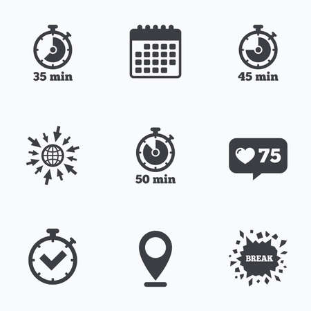 45 50: Calendar, like counter and go to web icons. Timer icons. 35, 45 and 50 minutes stopwatch symbols. Check or Tick mark. Location pointer.