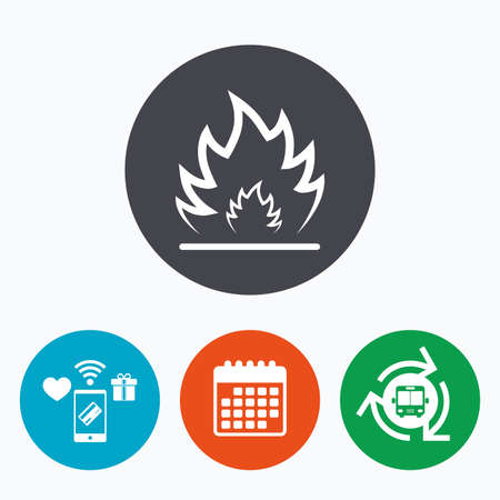 fire escape: Fire flame sign icon. Heat symbol. Stop fire. Escape from fire. Mobile payments, calendar and wifi icons. Bus shuttle. Illustration