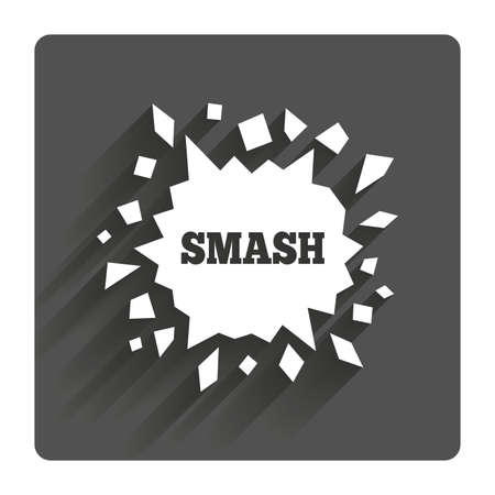 smashed paper: Cracked hole icon. Smash or break symbol. Gray flat square button with shadow. Modern UI website navigation. Illustration