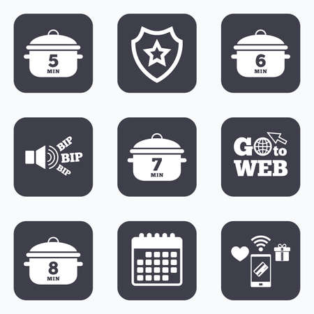 7 8: Mobile payments, wifi and calendar icons. Cooking pan icons. Boil 5, 6, 7 and 8 minutes signs. Stew food symbol. Go to web symbol.